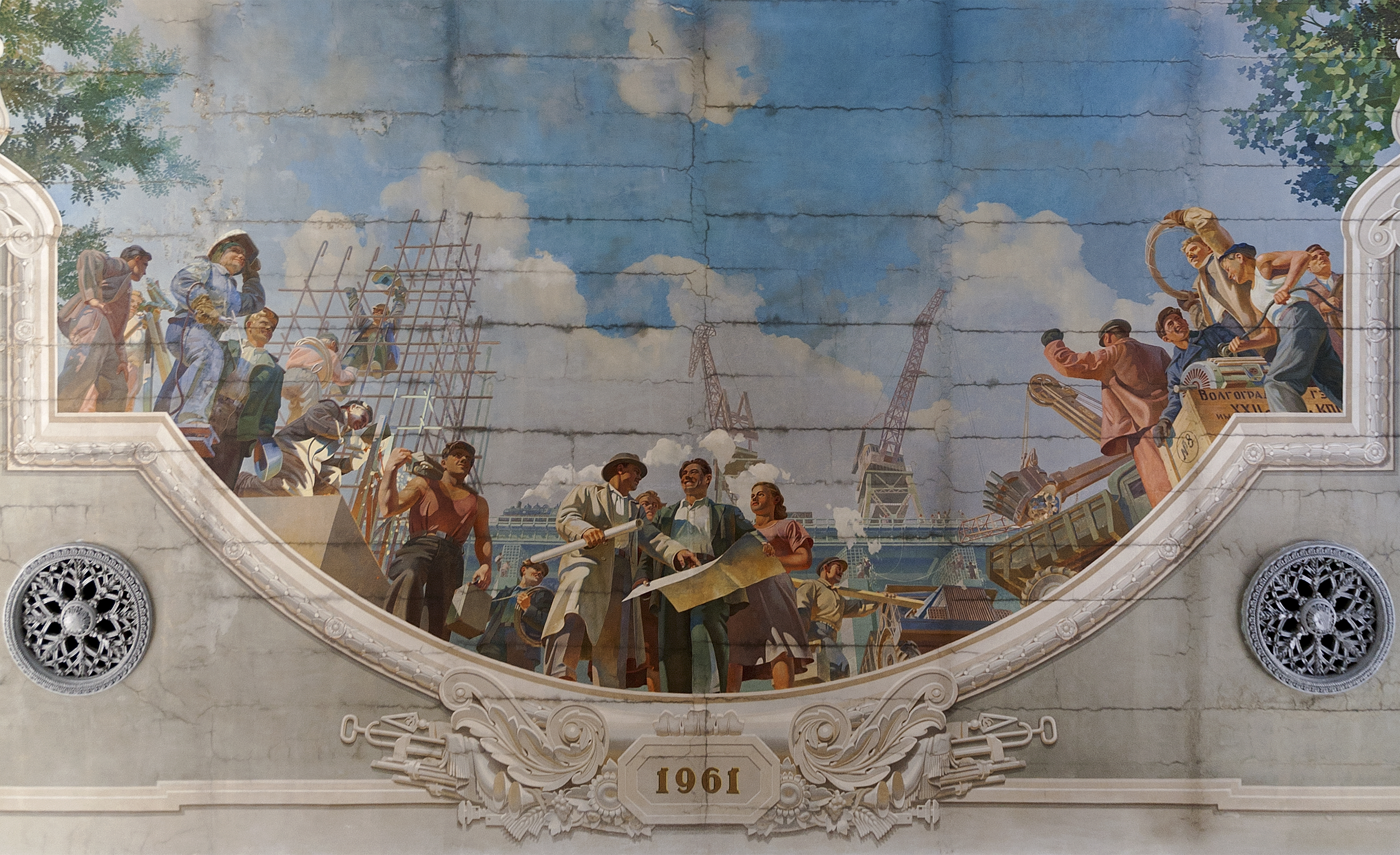Deckenmalerei im Hauptbahnhof Wolgograd