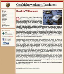 "Screenshot der Website des Projektes ""Geschichtswerkstatt Taschkent"", 2007"