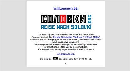 """Screenshot der Website des Projektes """"Reise auf die Solovki"""", 2007"""