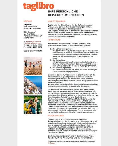 """Screenshot der Website des Projektes """"Taglibro"""", 2008"""